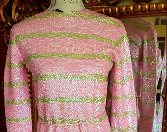 Vintage 60's Gene Shelly's Boutique International Pink and Green Sequin Stripe Sweater Dress