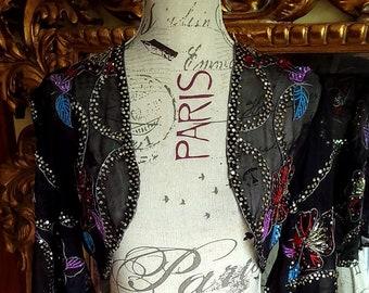 Vintage 1940's Sheer Black Silk Sequin Bolero Jacket