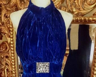 Vintage 1960's Blue Velvet Long Dress