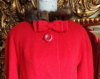 Vintage 1950's Red Swing Coat with Mink Collar