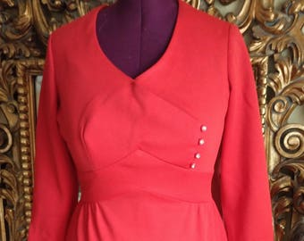 Vintage 1960's Montgomery Ward Orange Red Polyester Dress with Rhinestone Buttons