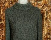 Vintage 60s 3 Piece Tiered Look Green Black Wool Mohair Skirt Suit