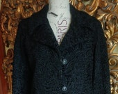 Vintage Early 60 39 s Black Persian Lamb Jacket with Rhinestone Buttons