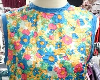 1960's Floral Long Sheath Dress