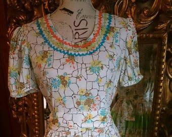 Vintage 1960's Floral Print and Ric Rak Square Dance Rockabilly Dress
