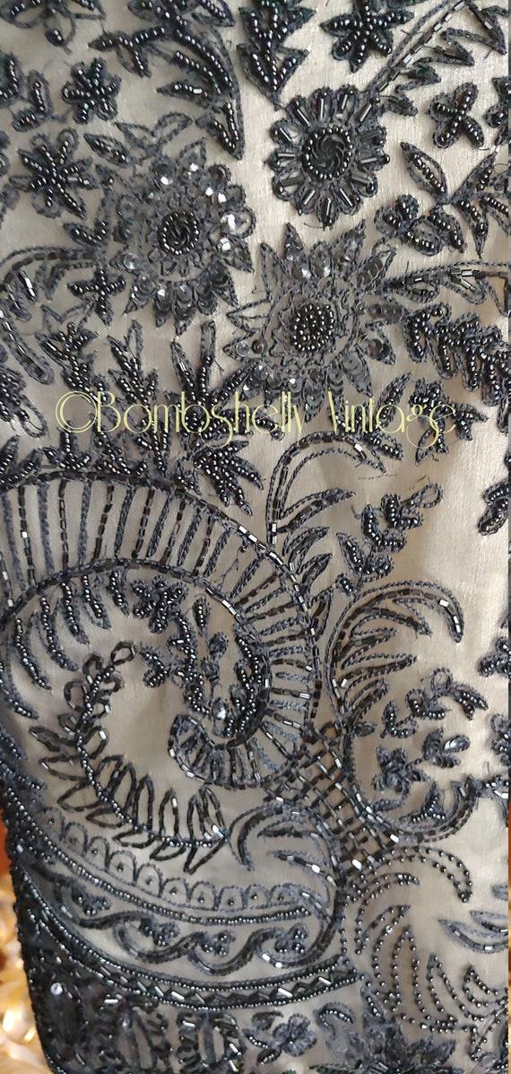 Incredible 20's/30's  Black Silk Beaded Jacket Bl… - image 9