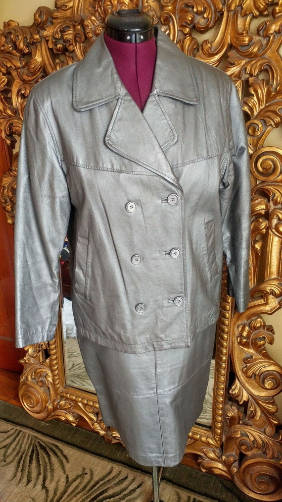 Vintage 80's Santa Fe Silver Metallic Leather Skir