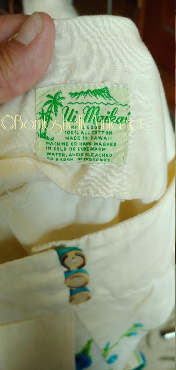 Vintage 60's Ui-Maikai Pima Cotton Hawaiian Tiki … - image 6