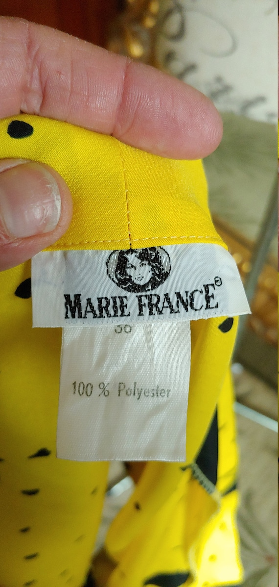 Vintage Marie France Bright Yellow and Black Two … - image 7