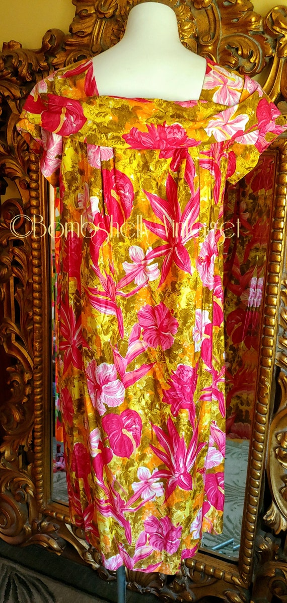 Vintage 60's Pima Cotton Chartreuse and Pink Hawa… - image 3