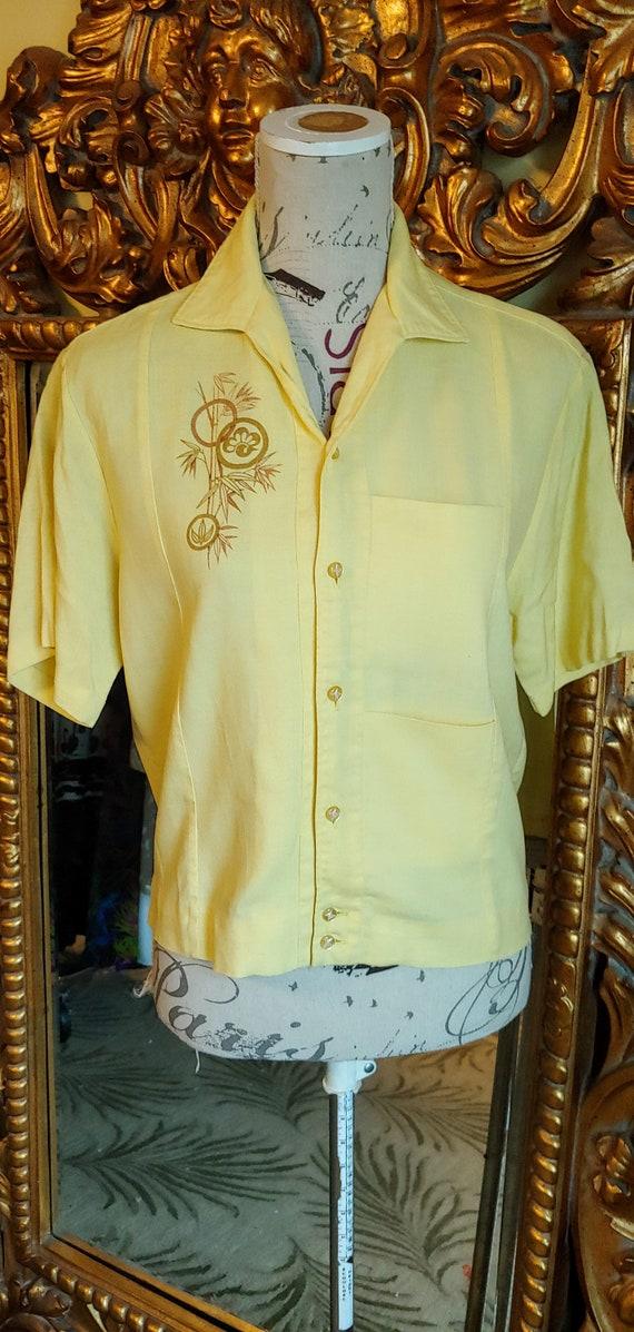 Vintage 50's Iolani Sportswear Yellow Tiki Shirt … - image 2