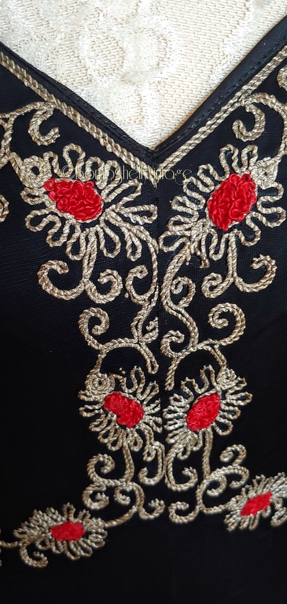 Vintage Early 40's Black Embroidered Evening Gown - image 6