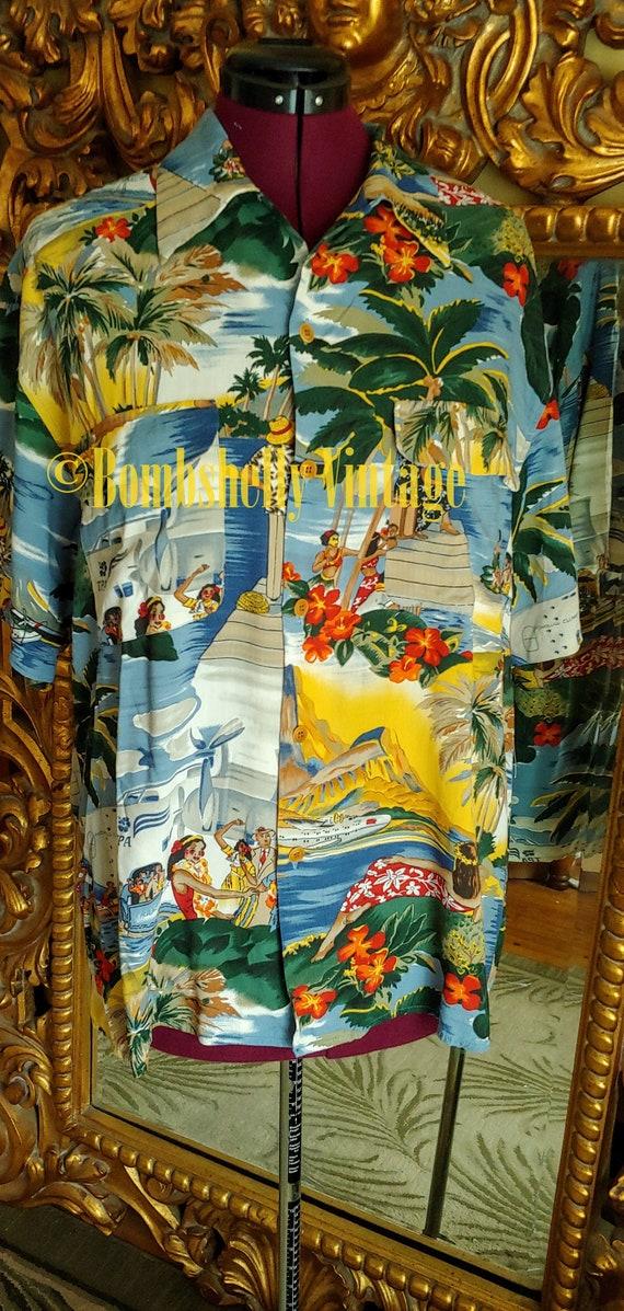 Vintage Reyn Spooner Hawaiian Tiki Shirt