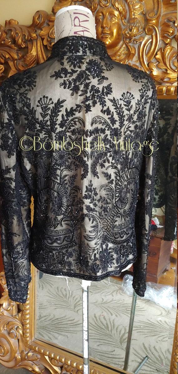 Incredible 20's/30's  Black Silk Beaded Jacket Bl… - image 3