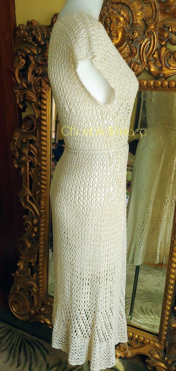 Vintage 70's Natural Cotton Crochet Dress - image 4