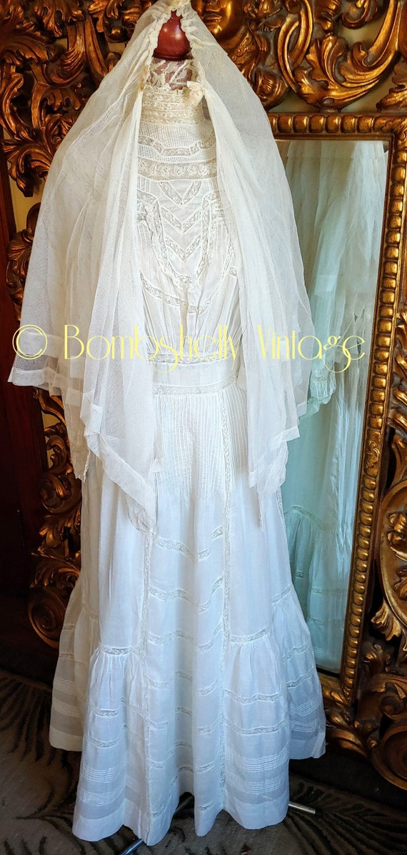 Antique 1890's White Cotton Victorian Wedding Dre… - image 1