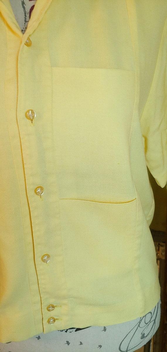 Vintage 50's Iolani Sportswear Yellow Tiki Shirt … - image 4