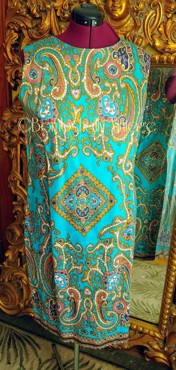 Vintage 60's Blue and Gold Pima Cotton Paisley Sh… - image 2
