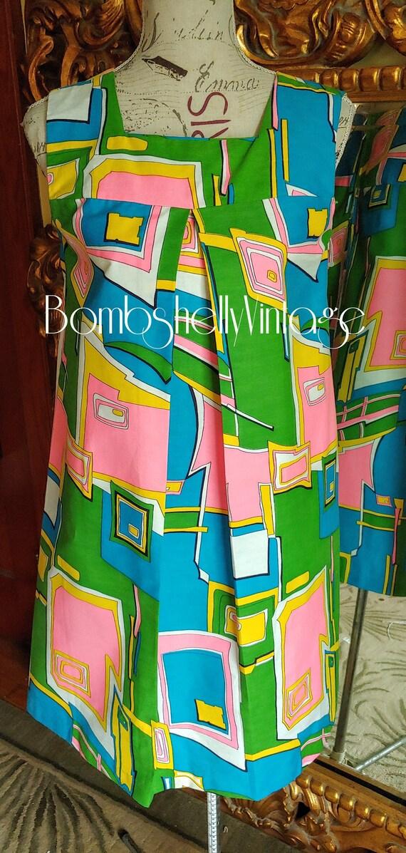 Vintage 60's Colorful Mod Cotton Shift Dress