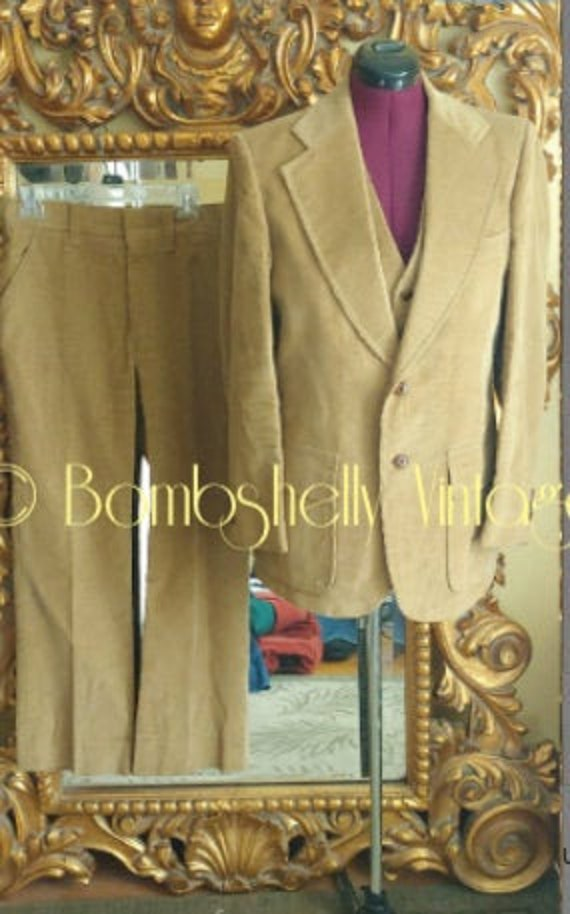 Vintage 1970's Men's 3 Piece Camel Corduroy Anthon