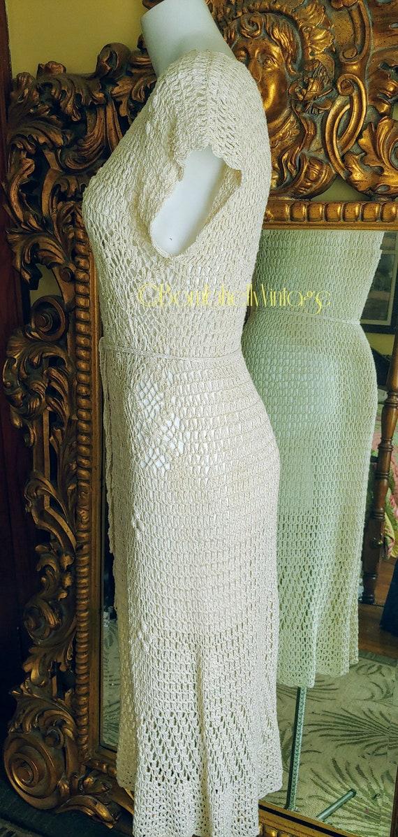 Vintage 70's Natural Cotton Crochet Dress - image 6
