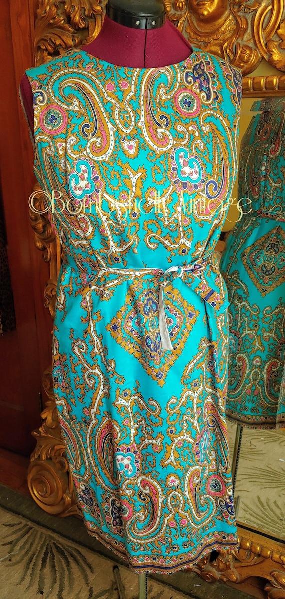 Vintage 60's Blue and Gold Pima Cotton Paisley Sh… - image 1