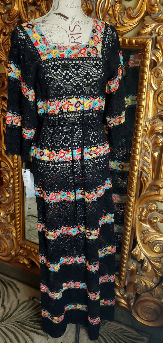 Beautiful 70s Vintage Black Lace Mexican Maxi Dress With Floral Embroidery