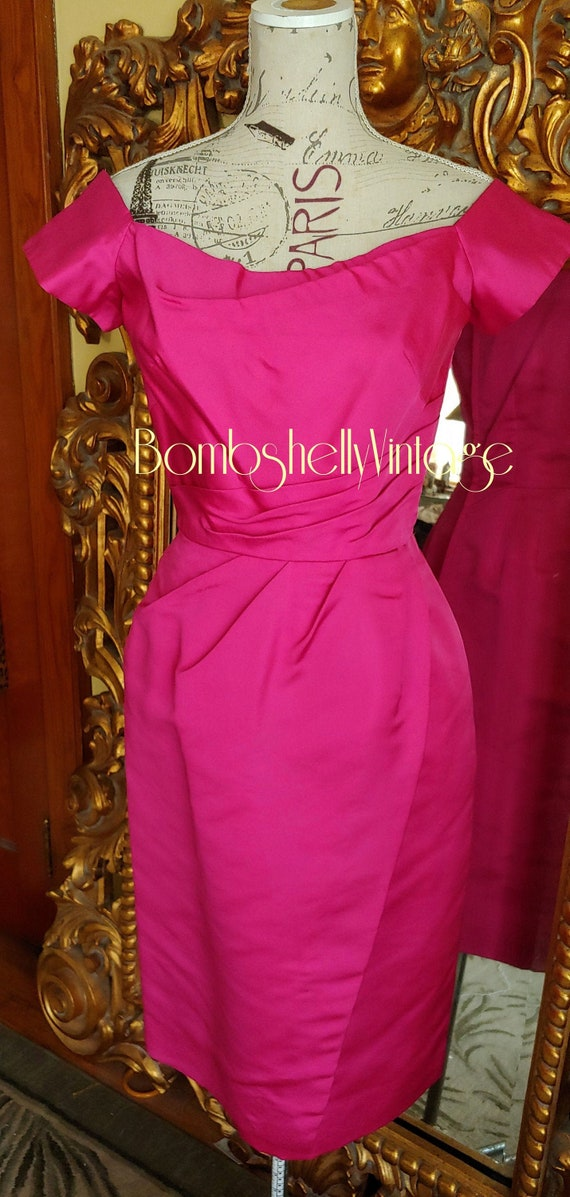 Vintage 50's Fuschia Silk Bombshell Wiggle Dress