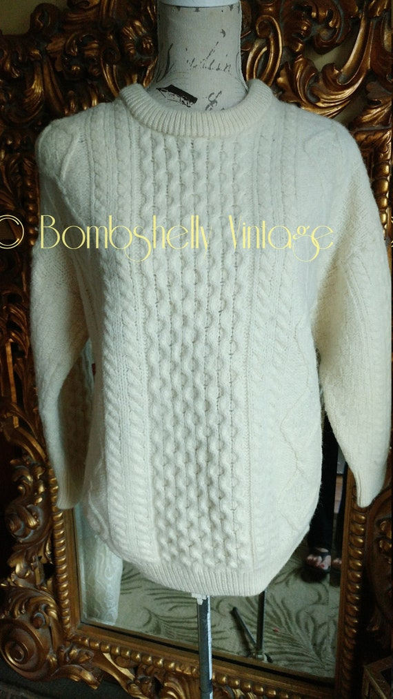 Vintage Aran Crafts Irish Fisherman Sweater XL