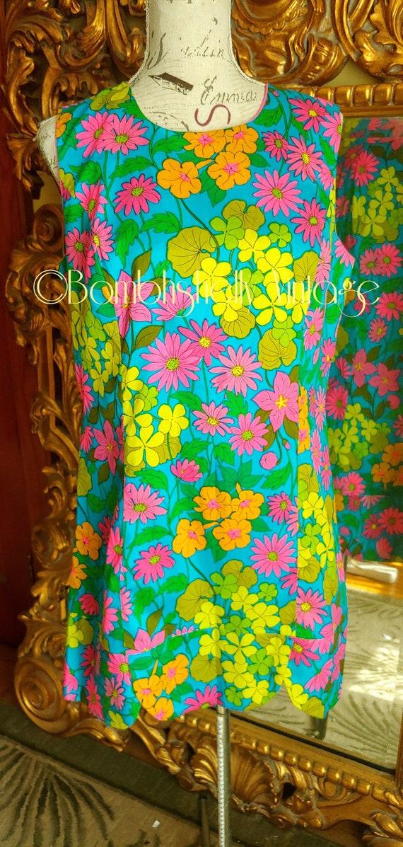 Vintage 60''s Mod Floral Culotte Dress Romper Skor