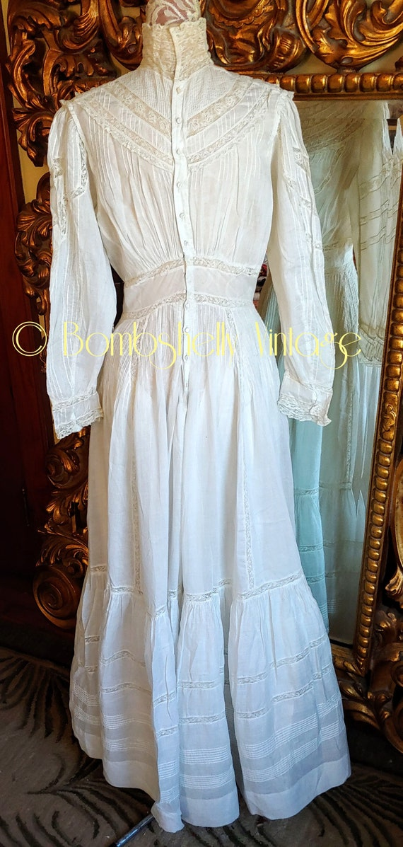 Antique 1890's White Cotton Victorian Wedding Dre… - image 3