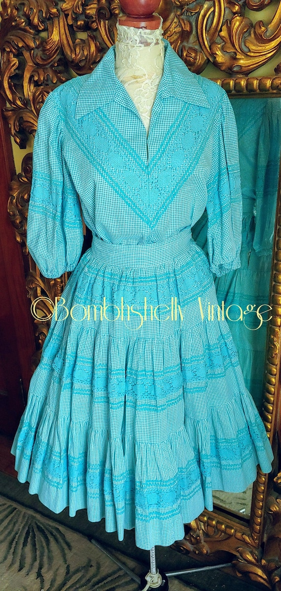 Vintage 50's Blue Gingham Check Patio Skirt Set wi
