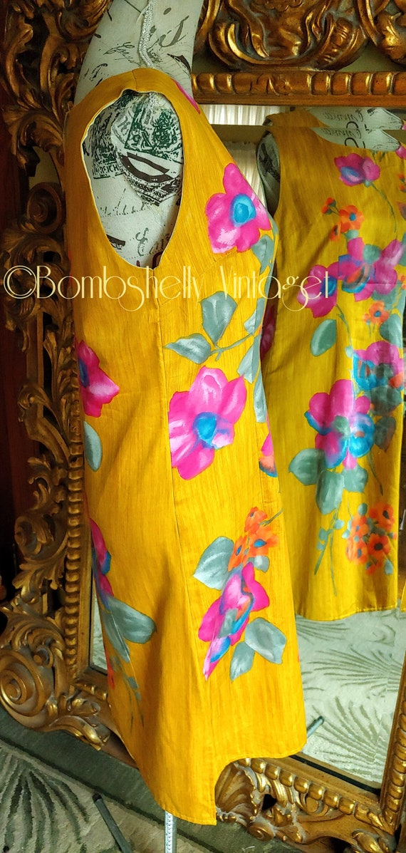 Vintage 60's Hand Screened Gold Floral Pima Cotto… - image 4
