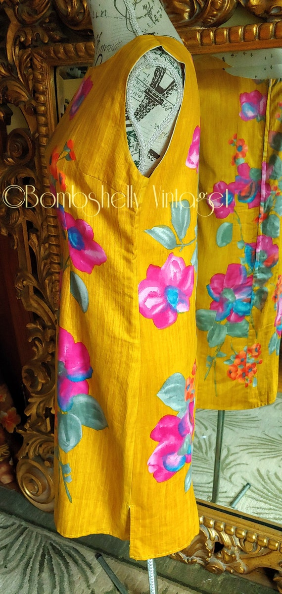 Vintage 60's Hand Screened Gold Floral Pima Cotto… - image 2
