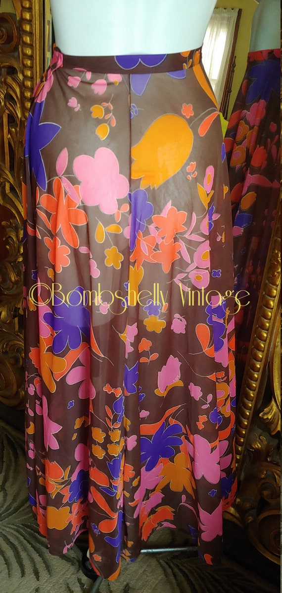 Vintage 60's Lily Pulitzer Brown Floral Sheer Nylo