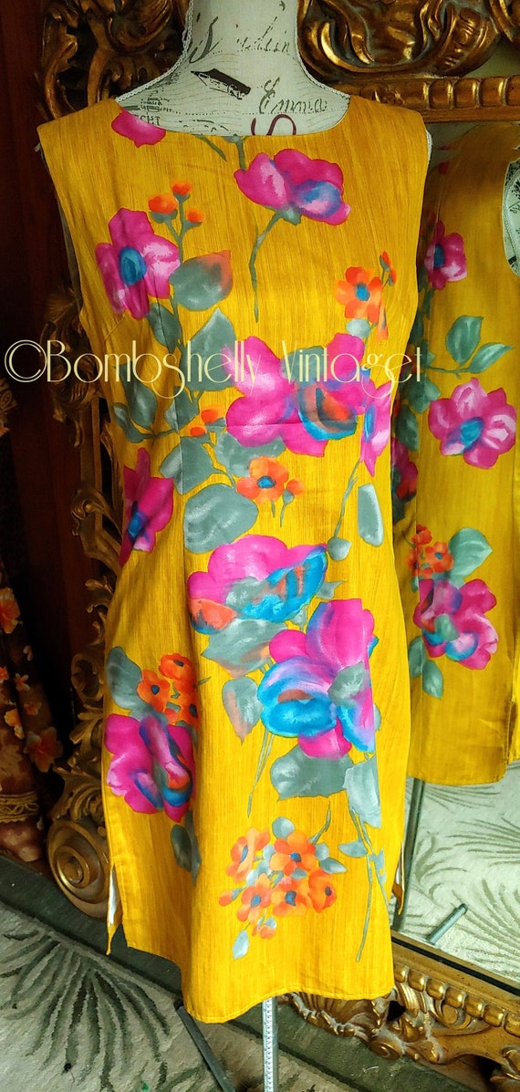 Vintage 60's Hand Screened Gold Floral Pima Cotto… - image 1