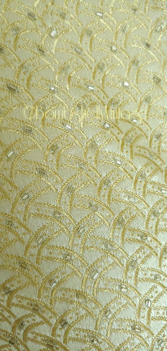 Vintage 60's Marie St. Claire Pale Gold Satin Emb… - image 5