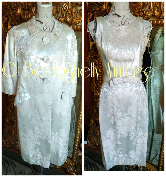 Gorgeous 1950's Informal Bridal White Satin Jaquar