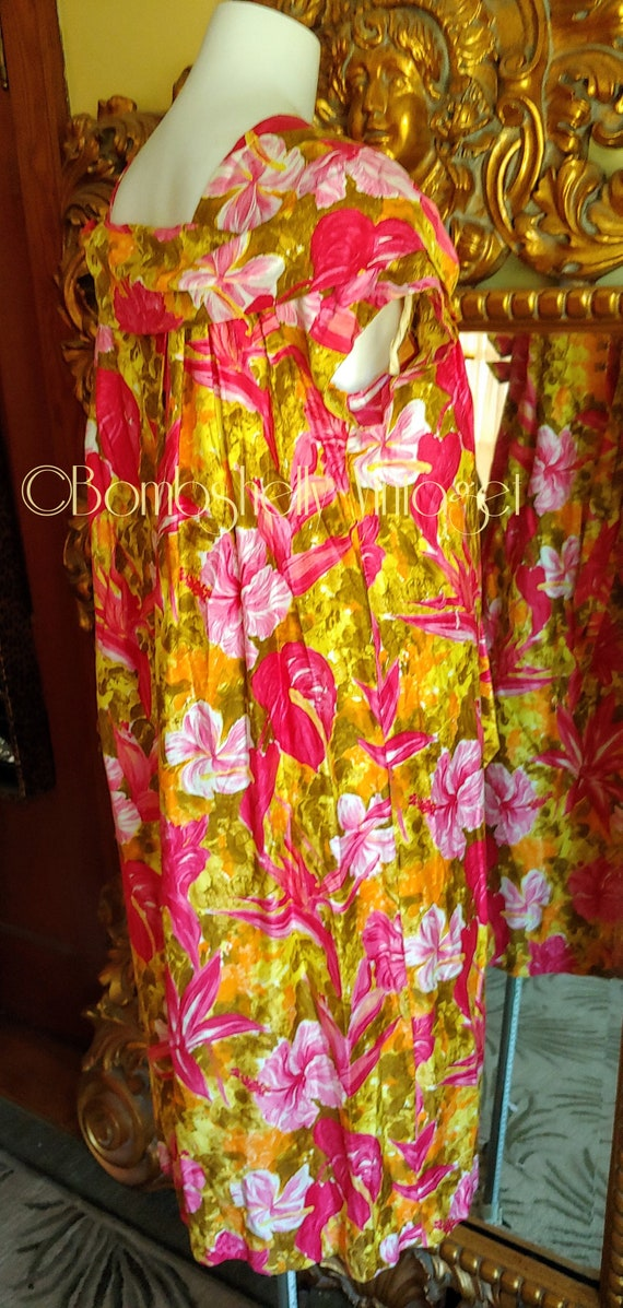 Vintage 60's Pima Cotton Chartreuse and Pink Hawa… - image 2