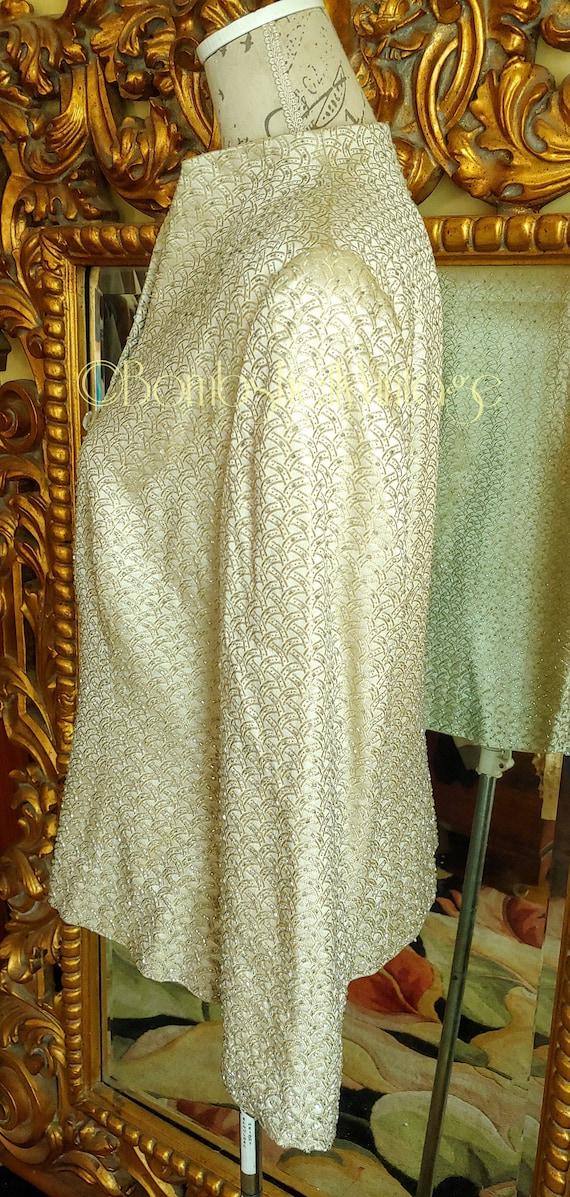 Vintage 60's Marie St. Claire Pale Gold Satin Emb… - image 4