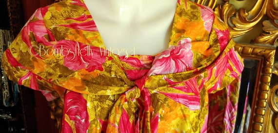 Vintage 60's Pima Cotton Chartreuse and Pink Hawa… - image 5