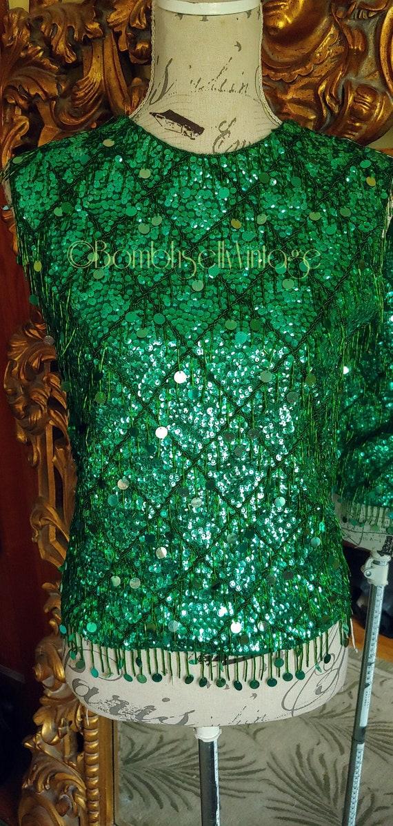 Vintage 50s/60s Green Sequin Beaded Fringe Sweater