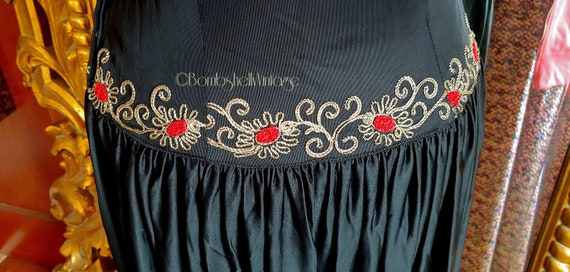 Vintage Early 40's Black Embroidered Evening Gown - image 8