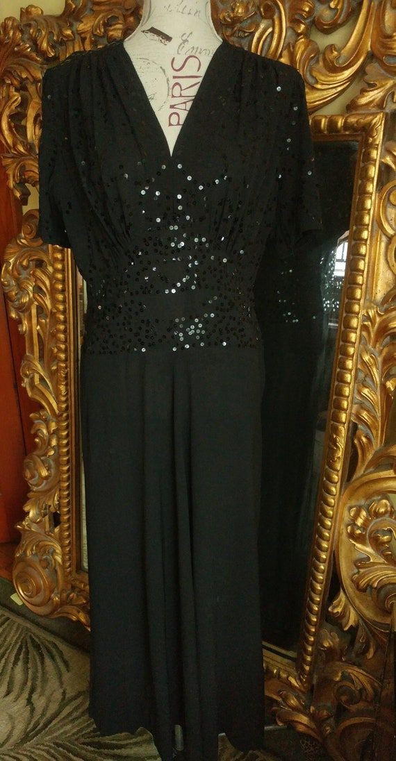 Vintage 1940's Black Crepe Sequin Dress