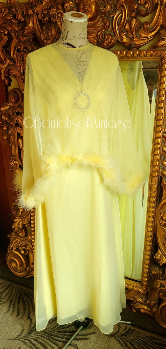 Vintage 60's Lemmon Yellow Chiffon Gown with Sheer