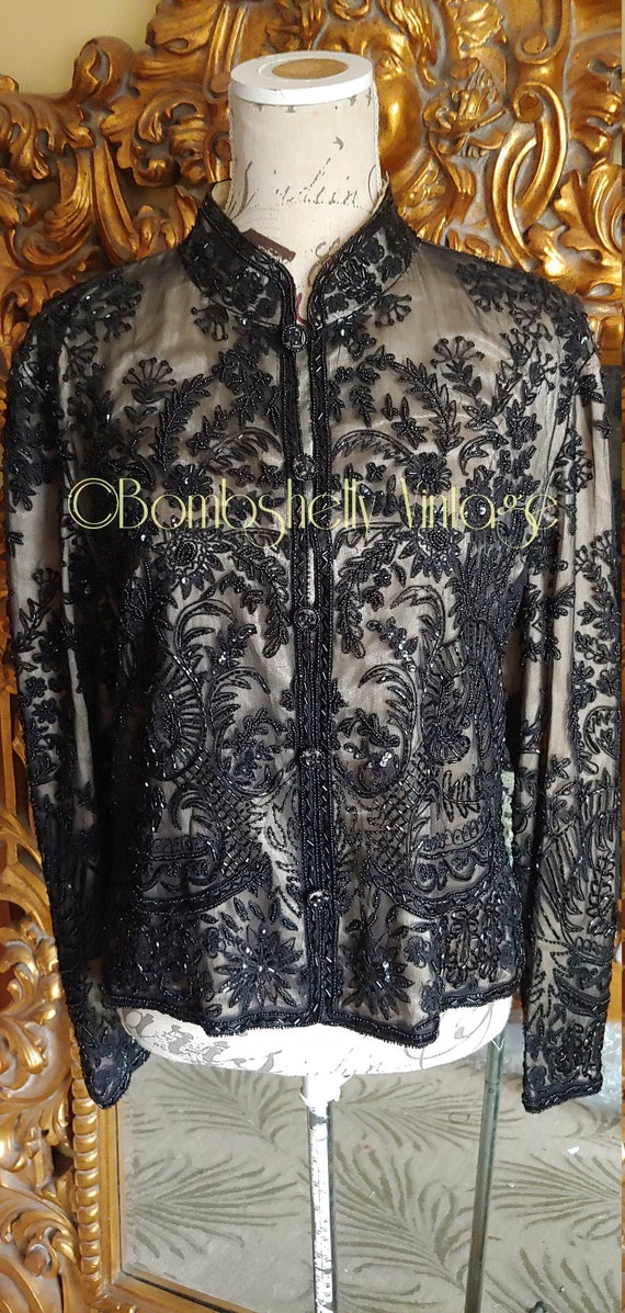 Incredible 20's/30's  Black Silk Beaded Jacket Blo
