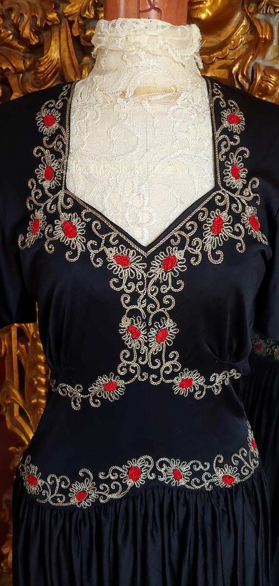 Vintage Early 40's Black Embroidered Evening Gown - image 5