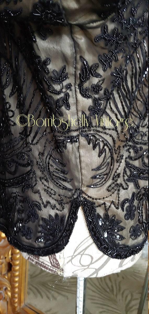 Incredible 20's/30's  Black Silk Beaded Jacket Bl… - image 7