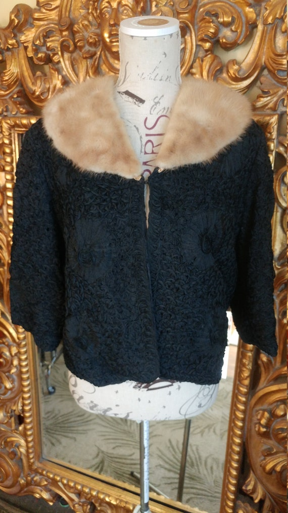 Vintage 50's Black Soutache Cropped Jacket with Be