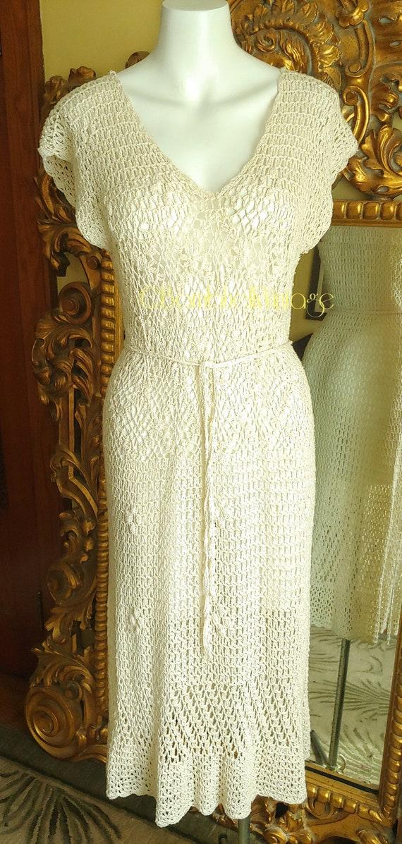 Vintage 70's Natural Cotton Crochet Dress - image 1
